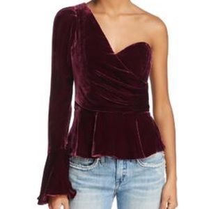 Parker NAVY one shoulder velvet top